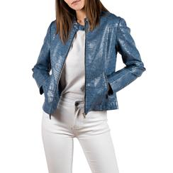 Biker jacket azzurra in eco-pelle cocco print, NUOVI ARRIVI, 156509104CCAZZUL, 001 preview