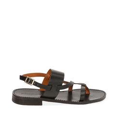 Sandales noires en cuir de vachette, Primadonna, 15D620005VANERO036, 001a