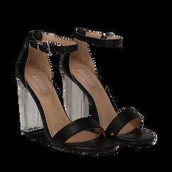 Sandali neri in eco-pelle, tacco plexi 10 cm , Sandali con tacco, 132708221EPNERO036, 002a