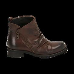 Biker boots marroni in pelle di vitello drappeggiata, Stivaletti, 14A919608VICUOI035, 001 preview