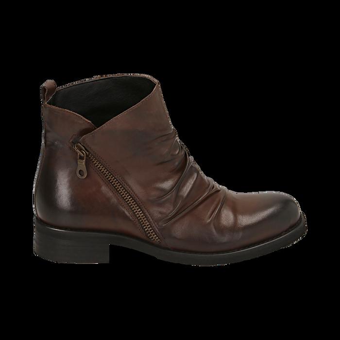 Biker boots marroni in pelle di vitello drappeggiata, Stivaletti, 14A919608VICUOI035