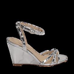 Sandalias efecto espejo color plateado, cuña 9 cm , Zapatos, 152154429SPARGE036, 001a