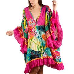 Caftán multicolor en tejido estampado de flores, Primadonna, 150500090TSMULTUNI, 001a