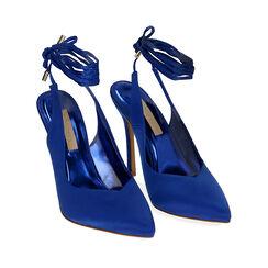 Destalonado azul satinado con cordones, tacón 11 cm, Primadonna, 172168642RSBLUE036, 002a