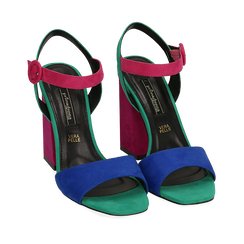 CALZATURA SANDALO MICROFIBRA BLUE, Chaussures, 152133411MFBLUE036, 002a