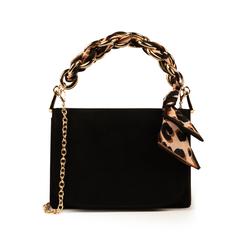 Mini bag nera in microfibra con manico foulard in raso, Primadonna, 155122756MFNEROUNI, 001 preview