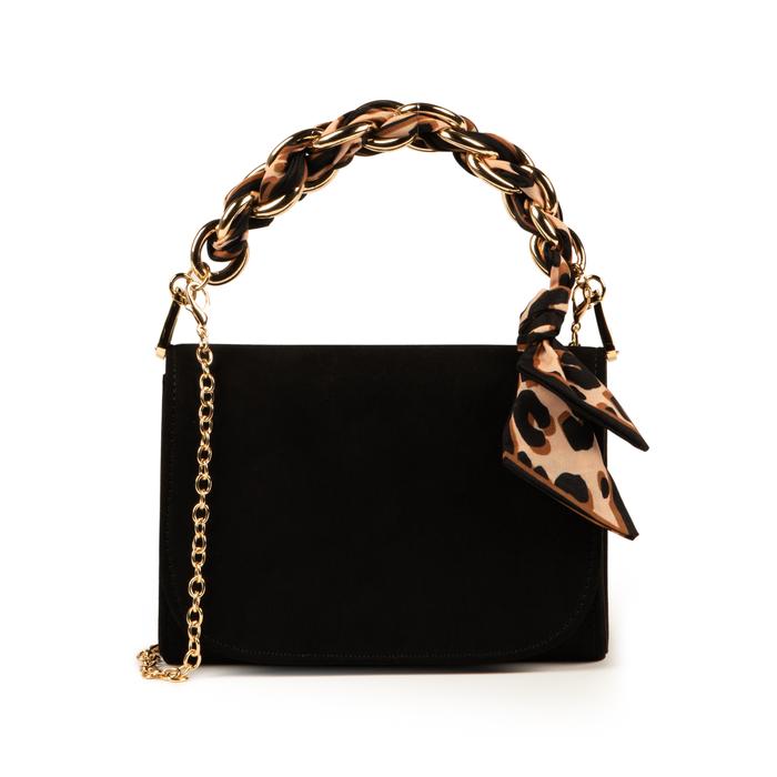 Mini bag nera in microfibra con manico foulard in raso, Primadonna, 155122756MFNEROUNI