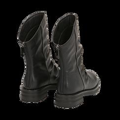 Ankle boots drappeggiati neri in eco-pelle, Stivaletti, 14A719675EPNERO035, 004 preview
