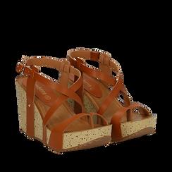 Sandali platform cuoio in eco-pelle, zeppa in sughero 9 cm , Primadonna, 134901921EPCUOI035, 002a