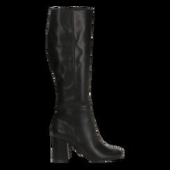 Stivali neri punta arrotondata, tacco 7,5 cm, Scarpe, 122182011EPNERO041, 001a