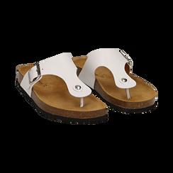 Zeppe bianche in eco-pelle con suola in sughero, Scarpe, 136785202EPBIAN036, 002 preview
