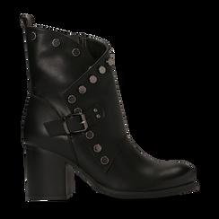 Tronchetti neri con gambale asimmetrico, tacco 4 cm, Scarpe, 123018602EPNERO, 001 preview