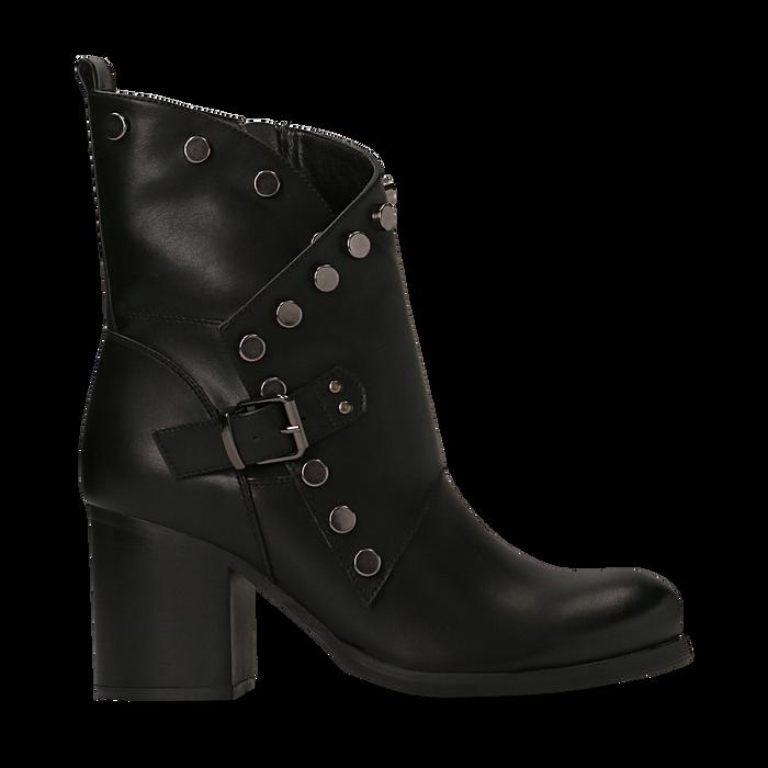 Tronchetti neri con gambale asimmetrico, tacco 4 cm, Scarpe, 123018602EPNERO