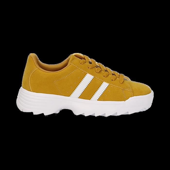 Dad shoes gialle in microfibra stile vintage Seventies, Scarpe, 130101211MFGIAL036