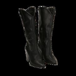Camperos neri in eco-pelle , Stivali, 140598102EPNERO035, 002a
