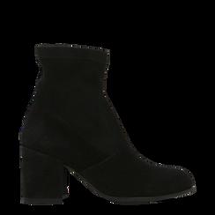 Tronchetti neri in vero camoscio, tacco quadrato 5 cm, Primadonna, 129809845CMNERO035, 001a