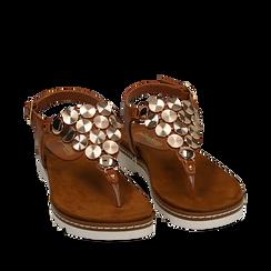 Sandali infradito cuoio in eco-pelle , 154927051EPCUOI035, 002a