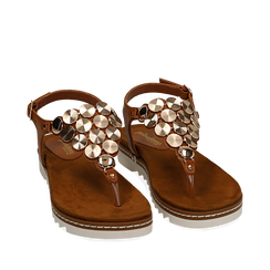 Sandali infradito cuoio in eco-pelle , Chaussures, 154927051EPCUOI035, 002a
