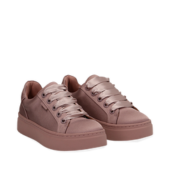 Sneakers nude in tessuto, suola 4 cm  , Scarpe, 142509512TSNUDE035, 002a