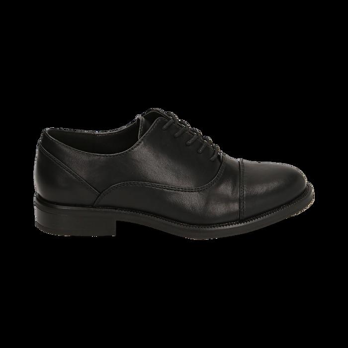 Stringate nere, tacco 4 cm, Primadonna, 160621674EPNERO037