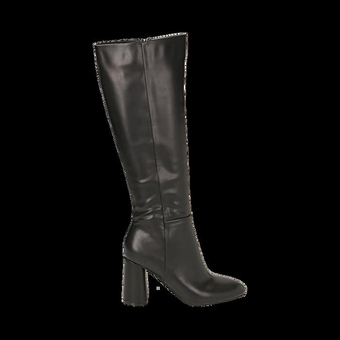 Stivali neri in eco-pelle, tacco 9 cm , Scarpe, 142182525EPNERO035
