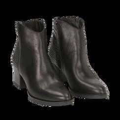 Camperos neri in pelle, tacco 6 cm , Scarpe, 141612965PENERO036, 002a