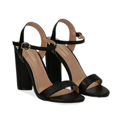 Sandali neri in eco-pelle, tacco 10 cm , Primadonna, 132708374EPNERO037, 002 preview