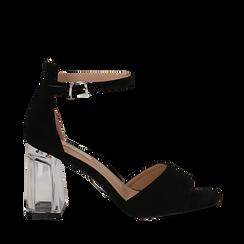 Sandali neri in microfibra, tacco a trapezio in plexi 8,50 cm , Primadonna, 132708233MFNERO036, 001a