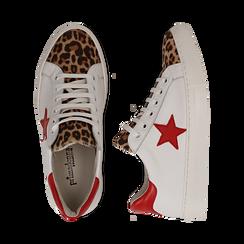 Sneakers bianco/rosse in pelle con pattina leopard, Scarpe, 13C300029PEBIRO036, 003 preview