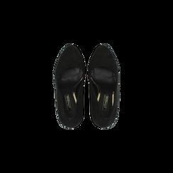 Décolleté nere scamosciate con plateau, tacco 13,5 cm, Primadonna, 122103011MFNERO, 004 preview