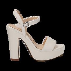 Sandali con plateau bianchi in eco-pelle, tacco 13 cm , Sandali con tacco, 138404164EPBIAN035, 001 preview