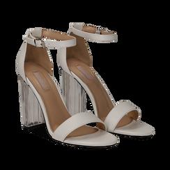 Sandali bianchi in eco-pelle, tacco plexi 10 cm , Sandali con tacco, 132708221EPBIAN037, 002 preview