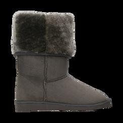 Scarponcini invernali scamosciati grigi con risvolto in eco-fur, Scarpe, 125001204MFGRIG036, 001 preview