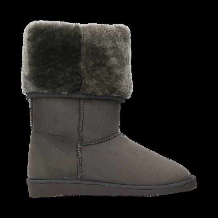 Scarponcini invernali scamosciati grigi con risvolto in eco-fur, Scarpe, 125001204MFGRIG036