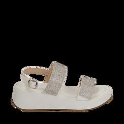 Sandali bianchi in microfibra, zeppa 4,50 cm , Scarpe, 154991102EPBIAN035, 001a