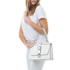 Borsa media bianca in eco-pelle con borchie, Borse, 131992421EPBIANUNI, 002a