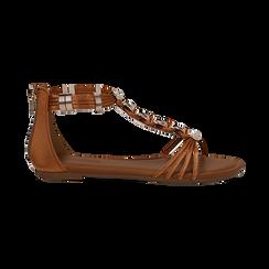 Sandali cuoio in raso con perle e placche oro, Primadonna, 133601505RSCUOI036, 001 preview