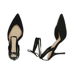 Escarpins à lacets en lycra noir, talon de 9 cm, Primadonna, 172106281LYNERO036, 003 preview