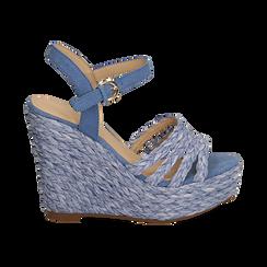 Sandali azzurri in rafia, zeppa 12 cm , Zapatos, 154978888RFAZZU038, 001 preview
