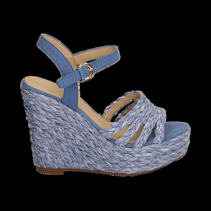 Sandali azzurri in rafia, zeppa 12 cm , Zapatos, 154978888RFAZZU038