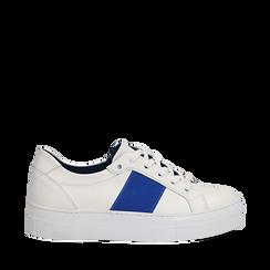 Sneakers bianco/blu in pelle, Scarpe, 137720413PEBIBL035, 001a