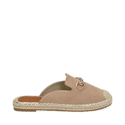 Slippers beige in microfibra, Chaussures, 154951159MFBEIG035, 001a