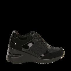 Sneakers nere glitter, zeppa 6 cm , Primadonna, 162801945GLNERO039, 001a