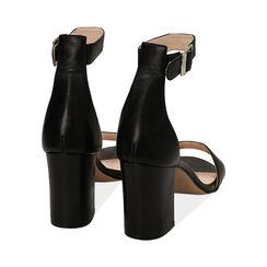 Sandali neri in pelle di vitello, tacco 8,5 cm, Primadonna, 15D600501VINERO040, 004 preview