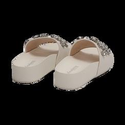Zeppe bianche in eco-pelle con gemme, zeppa 4 cm, Primadonna, 115160026EPBIAN037, 004 preview