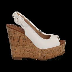 Sandali bianchi in eco-pelle, zeppa 12 cm , Scarpe, 154907982EPBIAN035, 001 preview