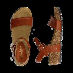 Sandali platform cuoio in eco-pelle, zeppa in sughero 4 cm , Saldi, 132161102EPCUOI036, 003 preview