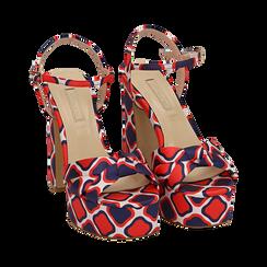 Sandali rossi in raso optical print, tacco 12 cm, Sandali con tacco, 152133401RSROSS036, 002 preview