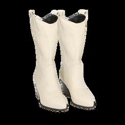 Camperos panna in pelle di vitello, tacco 7 cm , Primadonna, 16A511944VIPANN038, 002a