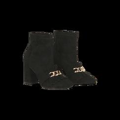 Tronchetti neri con catena e frange, tacco 9,5 cm, Scarpe, 122186592MFNERO, 002 preview